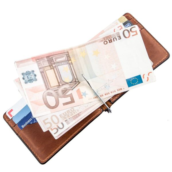 Компактный зажим для денег без застежки GRANDE PELLE 11241 коричневый
