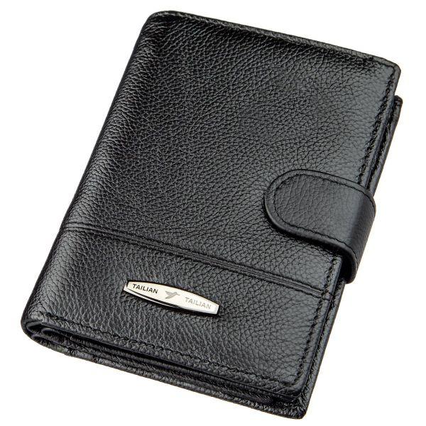 Кошелек мужской кожаный со встроенной обложкой для паспорта TAILIAN 18991 черный