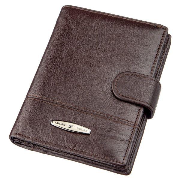 Кошелек мужской кожаный со встроенной обложкой для паспорта TAILIAN 18993 темно-коричневый