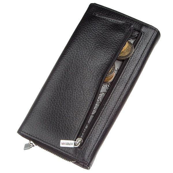 Кошелек женский на кнопке кожаный KARYA 17397 черный