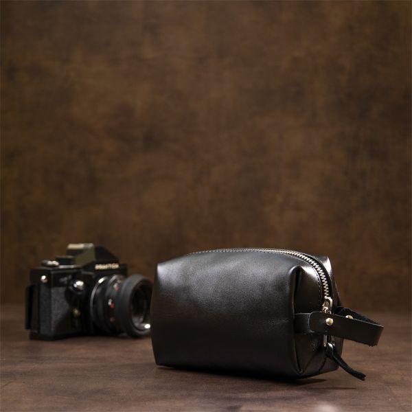 Кожаная глянцевая мужская косметичка GRANDE PELLE 11413 черный