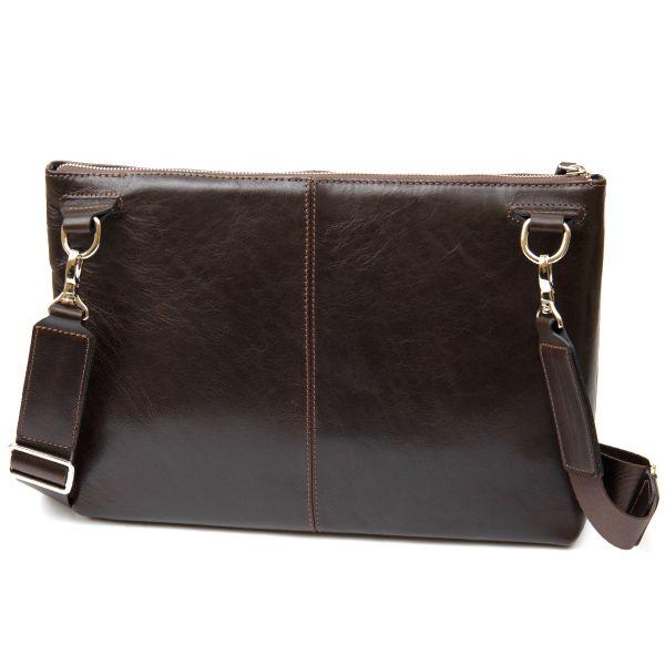 Кожаная мужская прямоугольная сумка для ноутбука GRANDE PELLE 11438 коричневый