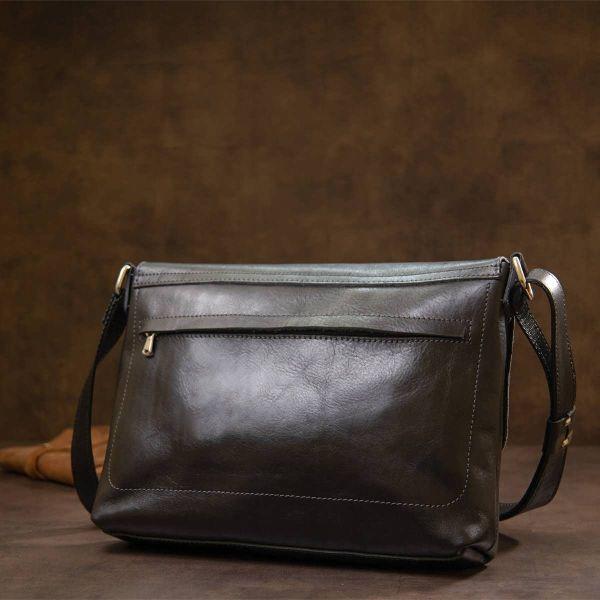 Кожаная мужская прямоугольная сумка GRANDE PELLE 11429 черный