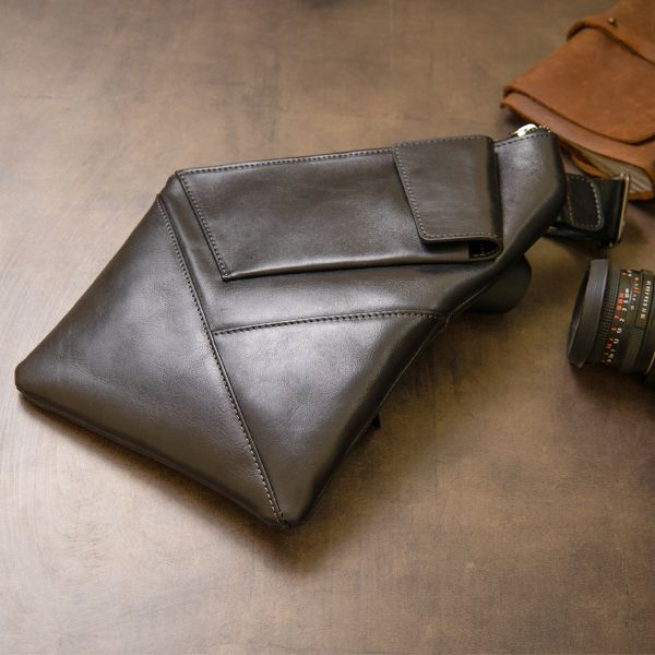 Кожаная мужская сумка через плечо GRANDE PELLE 11439 черный