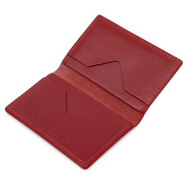 Кожаная женская визитница GRANDE PELLE 11532 красный