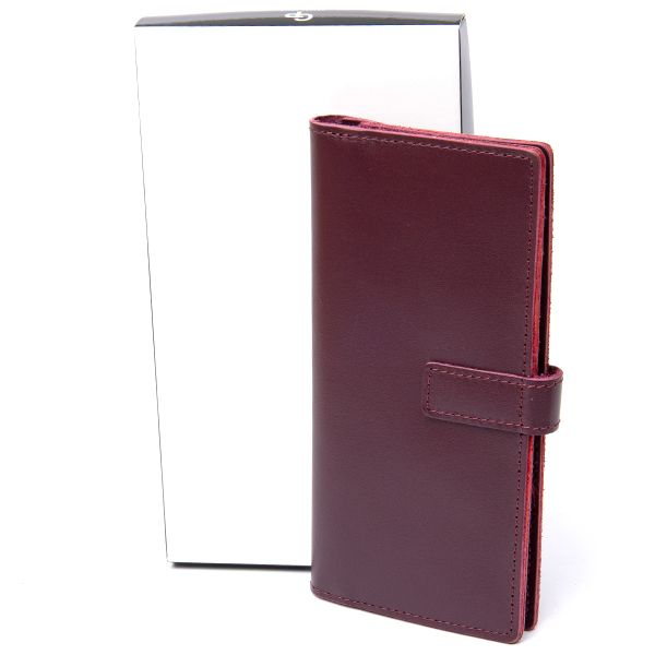 Кожаное глянцевое портмоне GRANDE PELLE 11467 бордовый