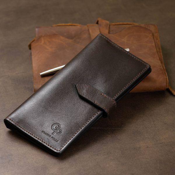 Кожаное мужское глянцевое портмоне GRANDE PELLE 11517 Коричневый