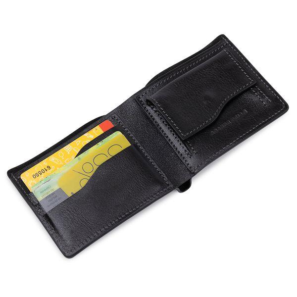 Кожаное мужское глянцевое портмоне GRANDE PELLE 11554 черный