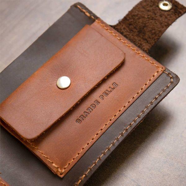 Кожаное мужское портмоне GRANDE PELLE 11460 коричневый