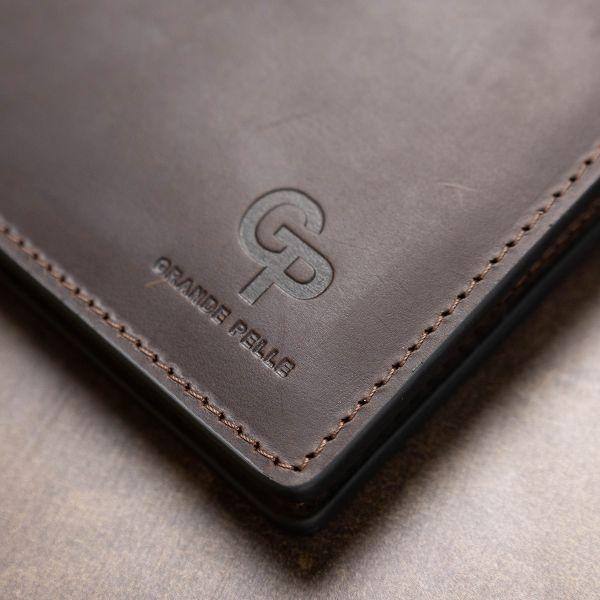 Кожаное мужское винтажное портмоне GRANDE PELLE 11553 коричневый