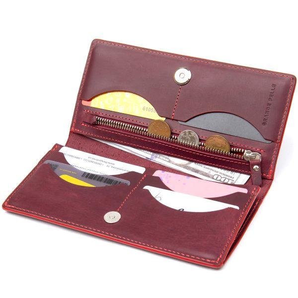 Кожаное винтажное портмоне GRANDE PELLE 11468 бордовый