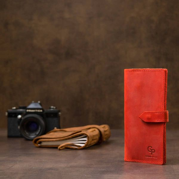 Кожаное винтажное женское портмоне GRANDE PELLE 11470 красный