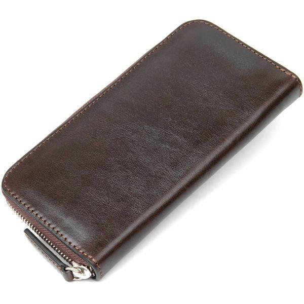 Кожаное женское глянцевое портмоне GRANDE PELLE 11466 коричневый