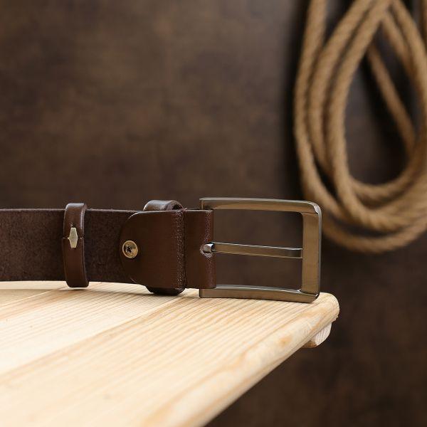 Кожаный мужской ремень батал Vintage 20720 Коричневый