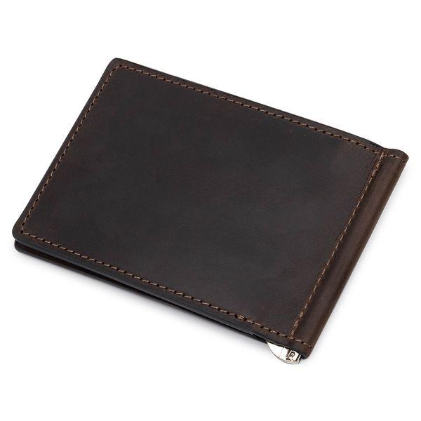 Кожаный мужской зажим для денег GRANDE PELLE 11540 коричневый