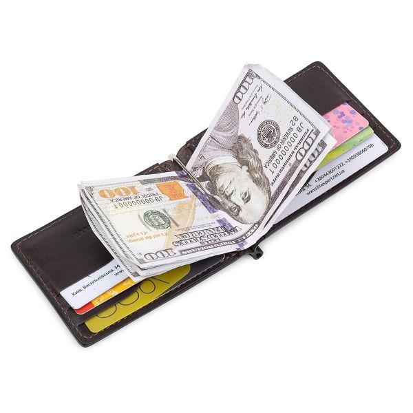 Кожаный мужской зажим для денег с монетницей GRANDE PELLE 11547 Коричневый