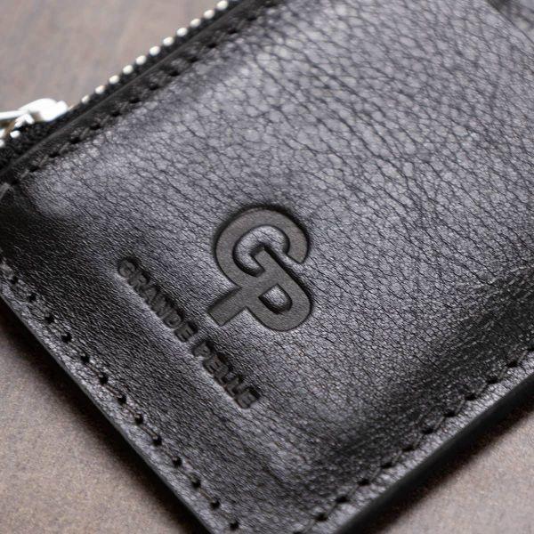 Кожаный небольшой картхолдер GRANDE PELLE 11399 Черный