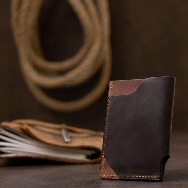 Кожаный необычный картхолдер GRANDE PELLE 11534 Коричневый