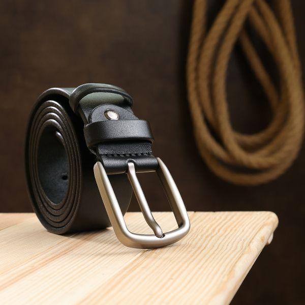 Кожаный практичный мужской ремень Vintage 20741 черный