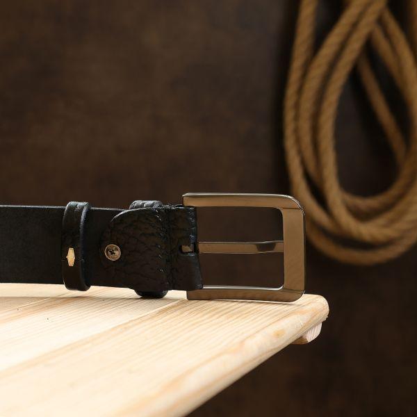 Кожаный ремень для мужчин Vintage 20743 черный