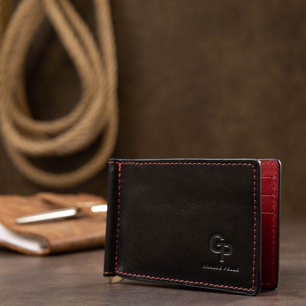 Кожаный стильный зажим для денег унисекс GRANDE PELLE 11541 черный