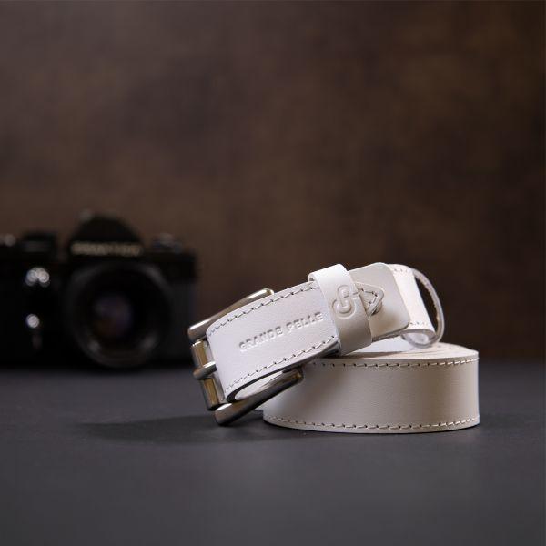 Кожаный женский ремень GRANDE PELLE 11373 белый