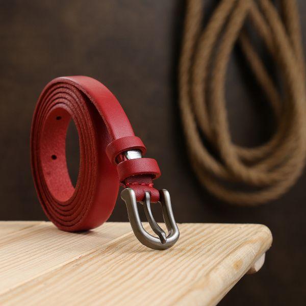 Кожаный женский ремень Vintage 20768 красный