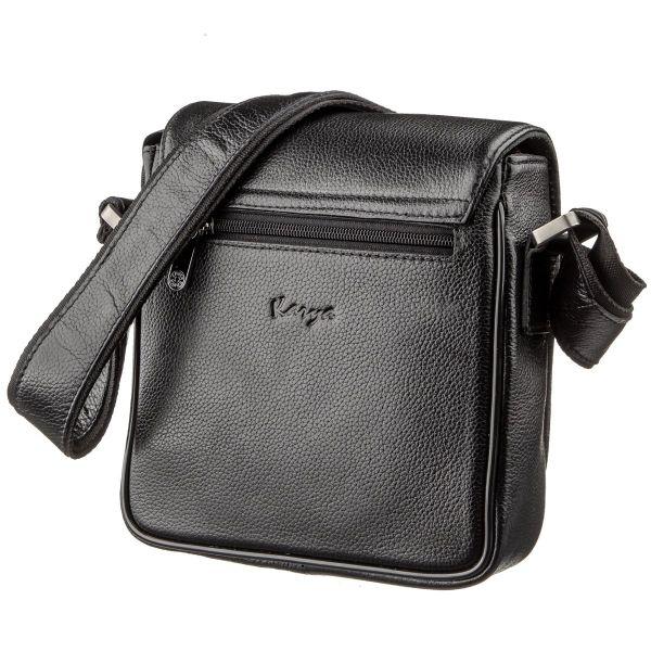 Малая сумка мужская кожаная флотар KARYA 17292 черная