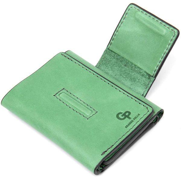 Матовое портмоне GRANDE PELLE 11458 зеленый