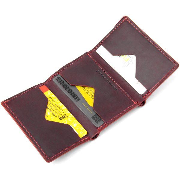 Матовое винтажное портмоне GRANDE PELLE 11454 бордовый