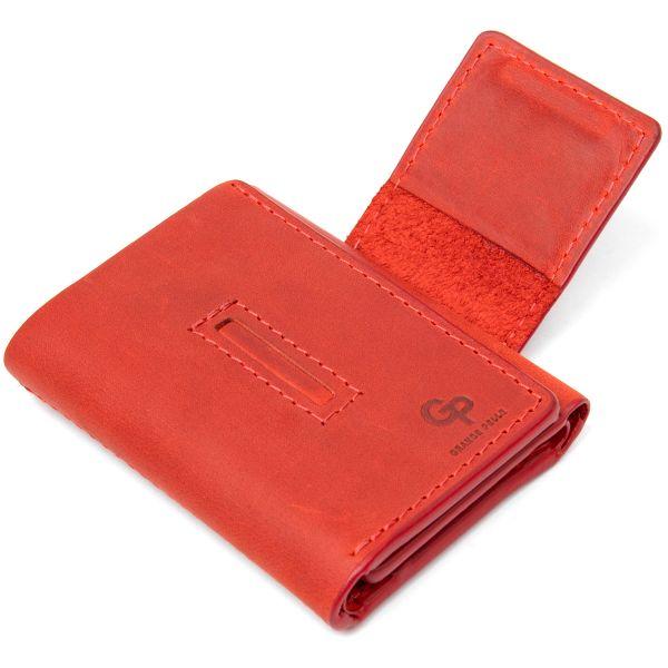Матовое винтажное портмоне GRANDE PELLE 11459 красный