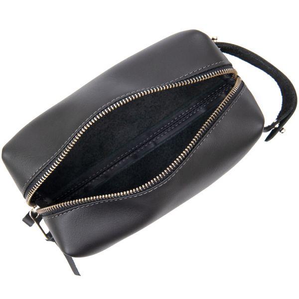Матовый мужской кожаный несессер GRANDE PELLE 11509 черный