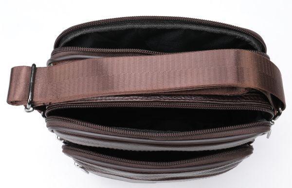 Мессенджер мужской с двумя карманами 14706 Vintage коричневый