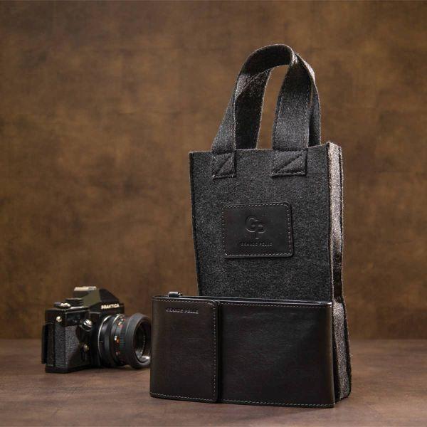 Мужская кожаная сумка-кошелек GRANDE PELLE 11440 черный