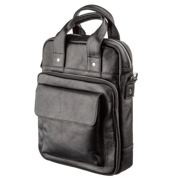 Мужская сумка под А4 вертикального формата в гладкой коже 11165 SHVIGEL, черная
