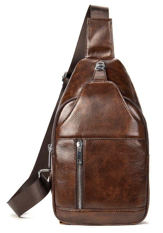 Мужская сумка-слинг кожаная 20340 Vintage коричневая