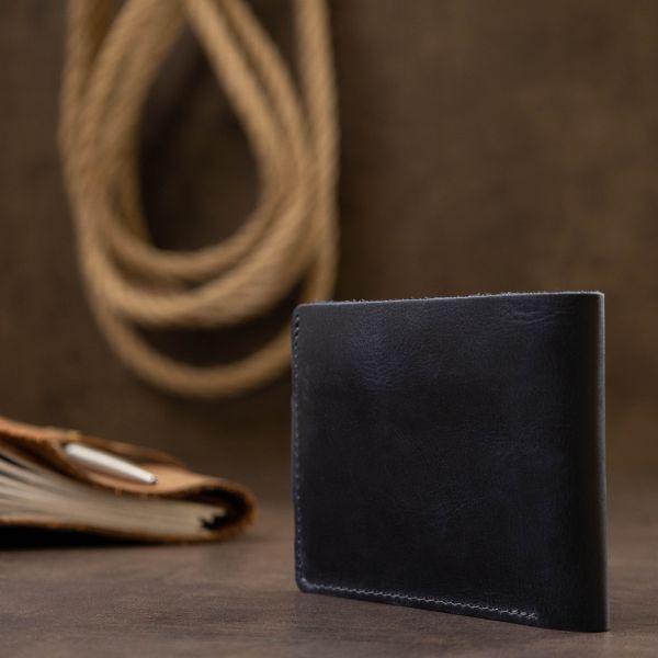 Мужское компактное кожаное портмоне GRANDE PELLE 11519 темно-синее