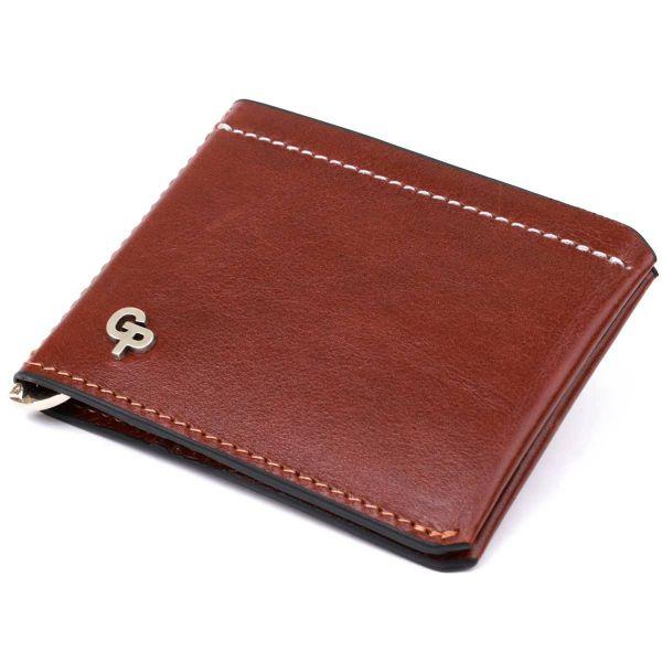 Мужской кожаный зажим для денег GRANDE PELLE 11361 коричневый