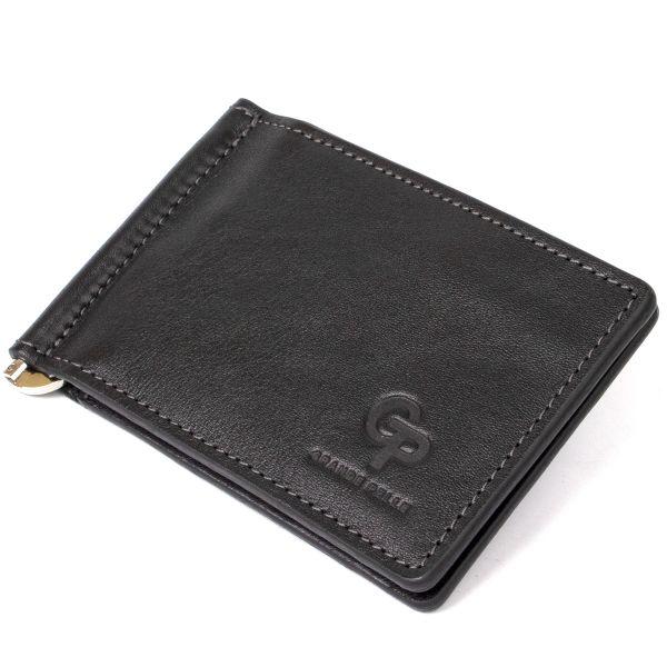 Мужской кожаный зажим для денег GRANDE PELLE 11475 черный