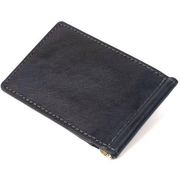 Мужской кожаный зажим для денег GRANDE PELLE 11476 темно-синий