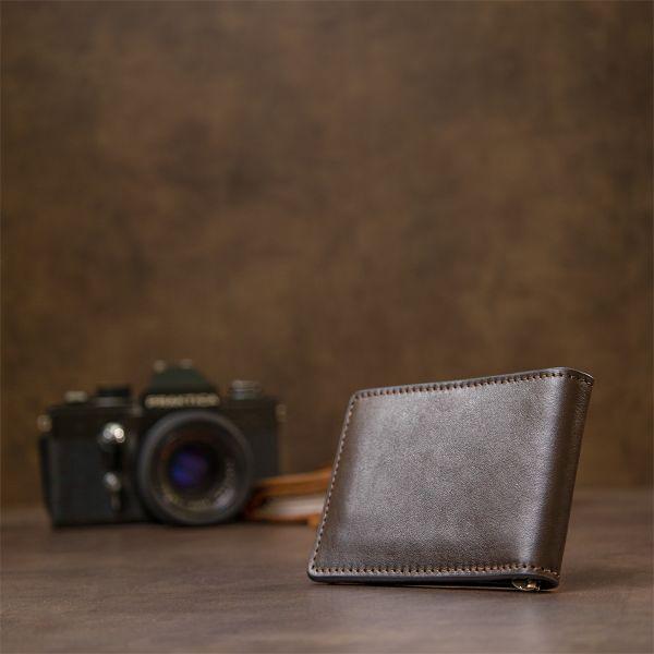 Мужской кожаный зажим для денег GRANDE PELLE 11478 коричневый
