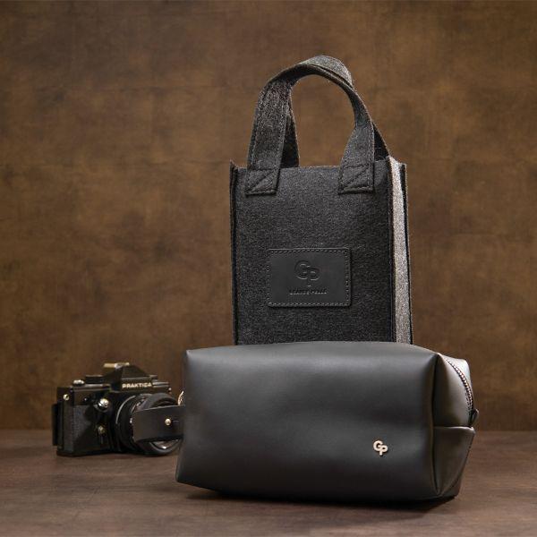 Мужской матовый кожаный несессер GRANDE PELLE 11508 черный