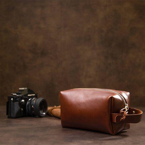 Мужской несессер из натуральной кожи GRANDE PELLE 11416 коричневый