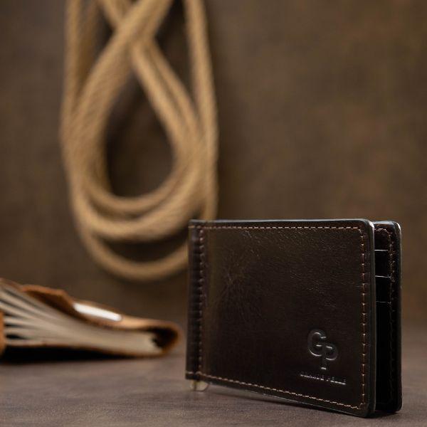 Мужской практичный зажим для денег GRANDE PELLE 11403 темно-коричневый