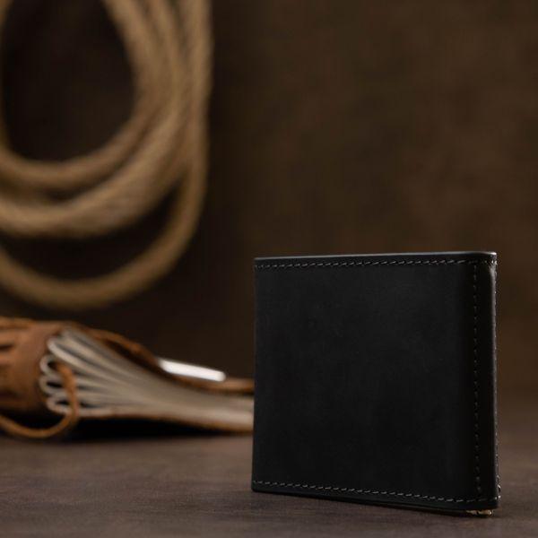 Мужской практичный зажим для денег GRANDE PELLE 11404 Черный