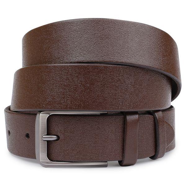 Мужской ремень батал из натуральной кожи Vintage 20732 коричневый