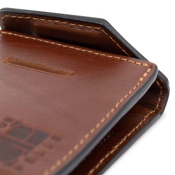 Мужской вместительный зажим для денег GRANDE PELLE 11522 коричневый