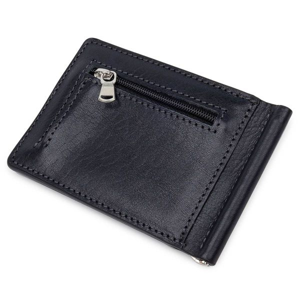 Мужской зажим для денег с монетницей GRANDE PELLE 11548 Черный