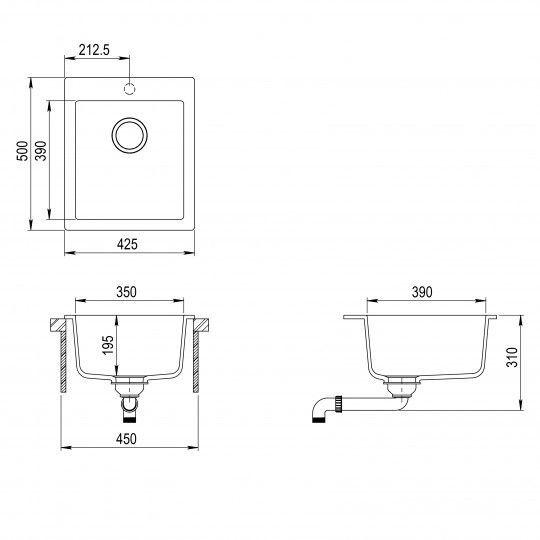 Кухонная мойка AquaSanita Basic Simplex SQS100W-111 silica