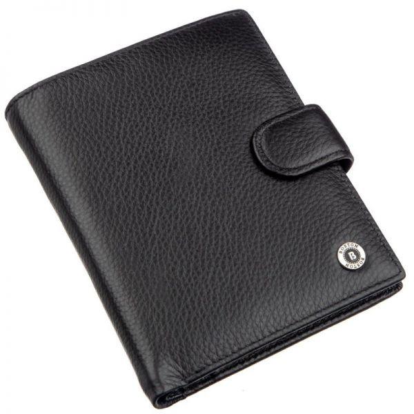 Шкіряне чоловіче портмоне на кнопці Boston 18822 чорний